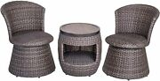 Outdoor Patio Conversation Set Of 3 Bistro Coffee Table And Swivel Stool Chairs