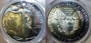 1986 1 Silver Eagle Pcgs Ms67 Gold Qa Sticker-monster Toned Incredible Colors