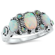 Victorian Antique Style Lab Opal 925 Sterling Silver Ring Size 8      143