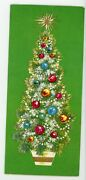 Gold Painted Christmas Tree Decorations - Vintage Christmas Greeting Card