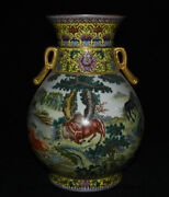 15.2 Marked Old China Wucai Porcelain Freehand Palace Eight Steed Horses Bottle