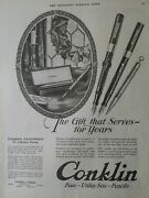 1923 Conklin Complete Assortments Fountain Pen Pencil Gift For Years Vintage Ad