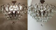 Matching Pair Of Antique Vintage Brass And Crystals Low Ceiling Huge Chandeliers