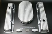 58-86 Sbc Chevy 350 Aluminum Short Retro Finned Valve Covers And Air Cleaner Kit