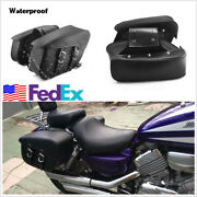 Universal 2 Pcs Pu Leather Motorcycle Tail Side Travel Luggage Bags Saddle Bags