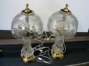 Pair 2 Of Beautiful German Made Hand Cut Lead Crystal Glass Lamps