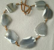 38 Stunning Chan Luu Sliced Geode Agate Sterling Silver Beads Chunky Necklace