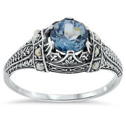 Victorian Antique Style 925 Silver Sim Aquamarine Seed Pearl Ring Size 9  153