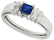 Vintage 0.51 Ct Sapphire And 0.36 Ct Diamond 18k White Gold Dress Ring Size 8