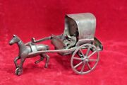 Brass Cart Man Toy Old Vintage Antique Home Decor Collectible Px-40