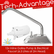 12v In-line Galley Pump And Faucet Tap Kit - Boat/kitchen/camping/caravan/marine