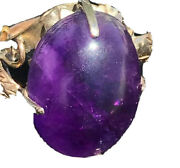 Antique 19k Yellow Gold Purple Stone Womens Leaves Size 5.5 - 6 +7g Amethyst