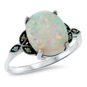 Antique Victorian Style 925 Sterling Silver White Lab Opal Ring Size 7   581