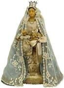 Antique Sculpture Religious Madonna Mother And Child Jesus Off-white Blue G