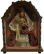 Sculpture Statue Religious Madonna And Child Jesus Our Lady Fabric Lace Robes