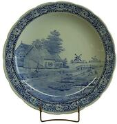 Vintage Plate Signed Sonneville Boch Royal Sphinx Blue Delft Windmill Cana