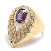 Erte Peacock Gold And Diamond Ring Amethyst + Mother Of Pearl Size 6.75
