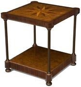 Side Table Scarborough House Compass Top Mixed Marquetry Iron Posts Bras