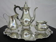 Graff Washbourne And Dunn Sterling Silver 4 Piece Complete Coffee/tea Set Vintage
