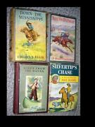 Lot Of 4 Vintage Antique Childrens Books Western Adventure Decor Great Covers