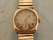 Original 1932 9ct Gold Longines Mid Size Cushion Style Officers Red12 Wristwatch