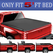 Truck Bed 5ft 3-fold For 15-21 Gmc Canyon Chevy Colorado Tonneau Cover Soft +led