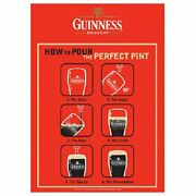 Guinness 12x18 How To Pour The Perfect Pint Metal Beer Sign Measures 11 Inches