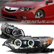 For 2009-2014 Acura Tsx Matte Black Drl White Led Halo Projector Headlights Hid