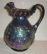 Fenton Amethyst Carnival Wildrose And Bowknot Embossed Pitcher Carafe 2003 Qvc