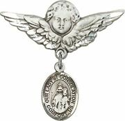 Sterling Silver Baby Badge Guardian Angel Pin With Our Lady Of Consolation Charm