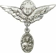 Sterling Silver Baby Badge Guardian Angel Pin With Our Lady Of Czestochowa Charm