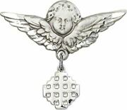 Sterling Silver Baby Badge Guardian Angel Pin With Jerusalem Cross Charm, 1 1/4