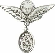 Sterling Silver Baby Badge Guardian Angel Pin With Lord Is My Shepherd Charm, 1