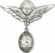 Sterling Silver Baby Badge Guardian Angel Pin With Marie Magdalen Postel Charm,