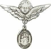 Sterling Silver Baby Badge Guardian Angel Pin With Maria Stein Charm, 1 1/4 Inch