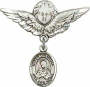 Sterling Silver Baby Badge Guardian Angel Pin With Mater Dolorosa Charm, 1 1/4 I
