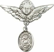 Sterling Silver Baby Badge Guardian Angel Pin With Saint Catherine Laboure Charm
