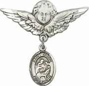 Sterling Silver Baby Badge Guardian Angel Pin With Saint Jason Charm, 1 1/4 Inch