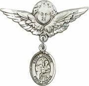 Sterling Silver Baby Badge Guardian Angel Pin With Saint Jerome Charm, 1 1/4 Inc