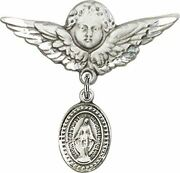 Sterling Silver Baby Badge Guardian Angel Pin With Beaded Miraculous Medal Charm