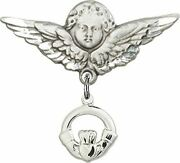 Sterling Silver Baby Badge Guardian Angel Pin With Claddagh Charm, 1 1/4 Inch