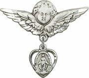 Sterling Silver Baby Badge Guardian Angel Pin With Heart Shape Miraculous Medal