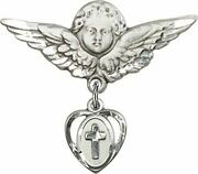 Sterling Silver Baby Badge Guardian Angel Pin With Heart With Cross Charm, 1 1/4