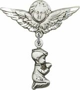 Sterling Silver Baby Badge Guardian Angel Pin With Praying Boy Charm, 1 1/4 Inch