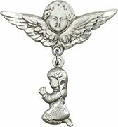 Sterling Silver Baby Badge Guardian Angel Pin With Praying Girl Charm, 1 1/4 Inc