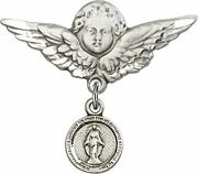 Sterling Silver Baby Badge Guardian Angel Pin With Round Miraculous Medal Charm,