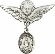 Sterling Silver Baby Badge Guardian Angel Pin With Saint Augustine Of Hippo Char
