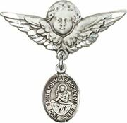 Sterling Silver Baby Badge Guardian Angel Pin With Saint Lidwina Of Schiedam Cha