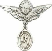 Sterling Silver Baby Badge Guardian Angel Pin With Saint Sebastian Track And Fie