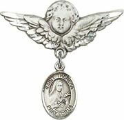 Sterling Silver Baby Badge Guardian Angel Pin With Saint Theresa Charm, 1 1/4 In